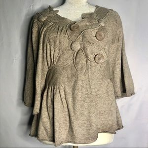 Anthropologie Knitted Knotted Flower Knit Sweater